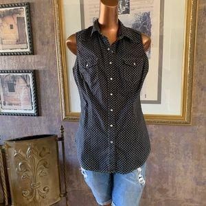 Sleeveless Pearl Snap Western Shirt M